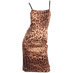 Dolce & Gabbana Leopard Print Silk Dress - brown/black