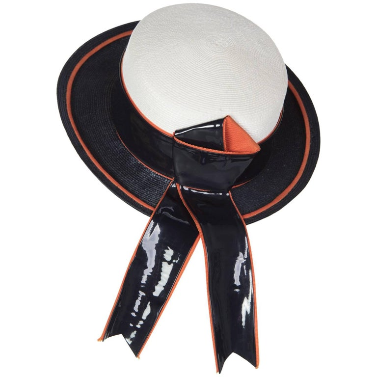 1960s Yves Saint Laurent Ivory and Navy Derby Hat Patent Leather Orange Hatband