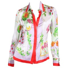 Versace multi color Silk Flower Print Blouse
