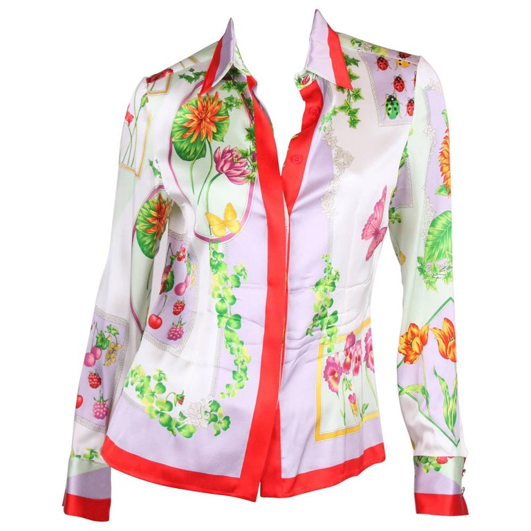 Versace multi color Silk Flower Print Blouse