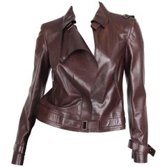 Versace Leather Jacket - dark brown