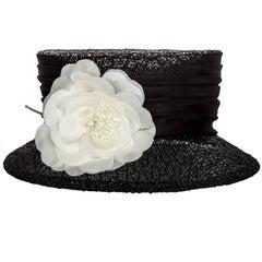 Donna Karan Black Lace Ivory Floral-Accent Majorette Hat