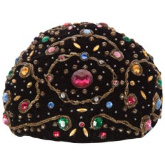 Balenciaga Haute Couture Black Velvet Jewel Toque Hat, 1950s