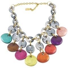 Dominique Denaive Paris Signed Resin Choker Necklace Multicolor Charms