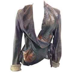 The People of the Labyrinths Taupe Leather Wrap Jacket