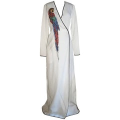 New Attico Embellished Parrot White Wrap Maxi Dress with Tags