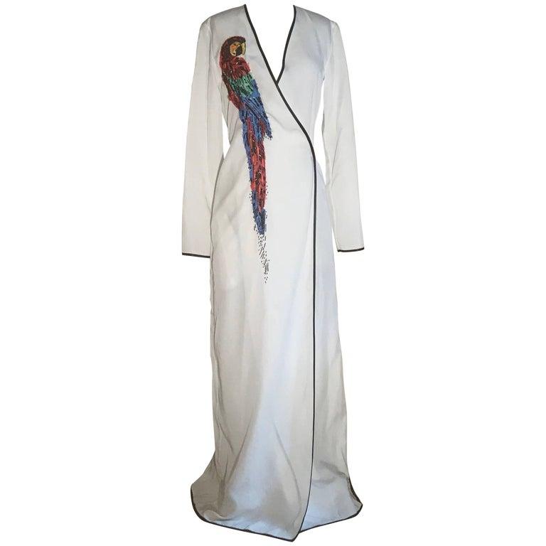 Attico Embellished Parrot White Wrap Maxi Dress