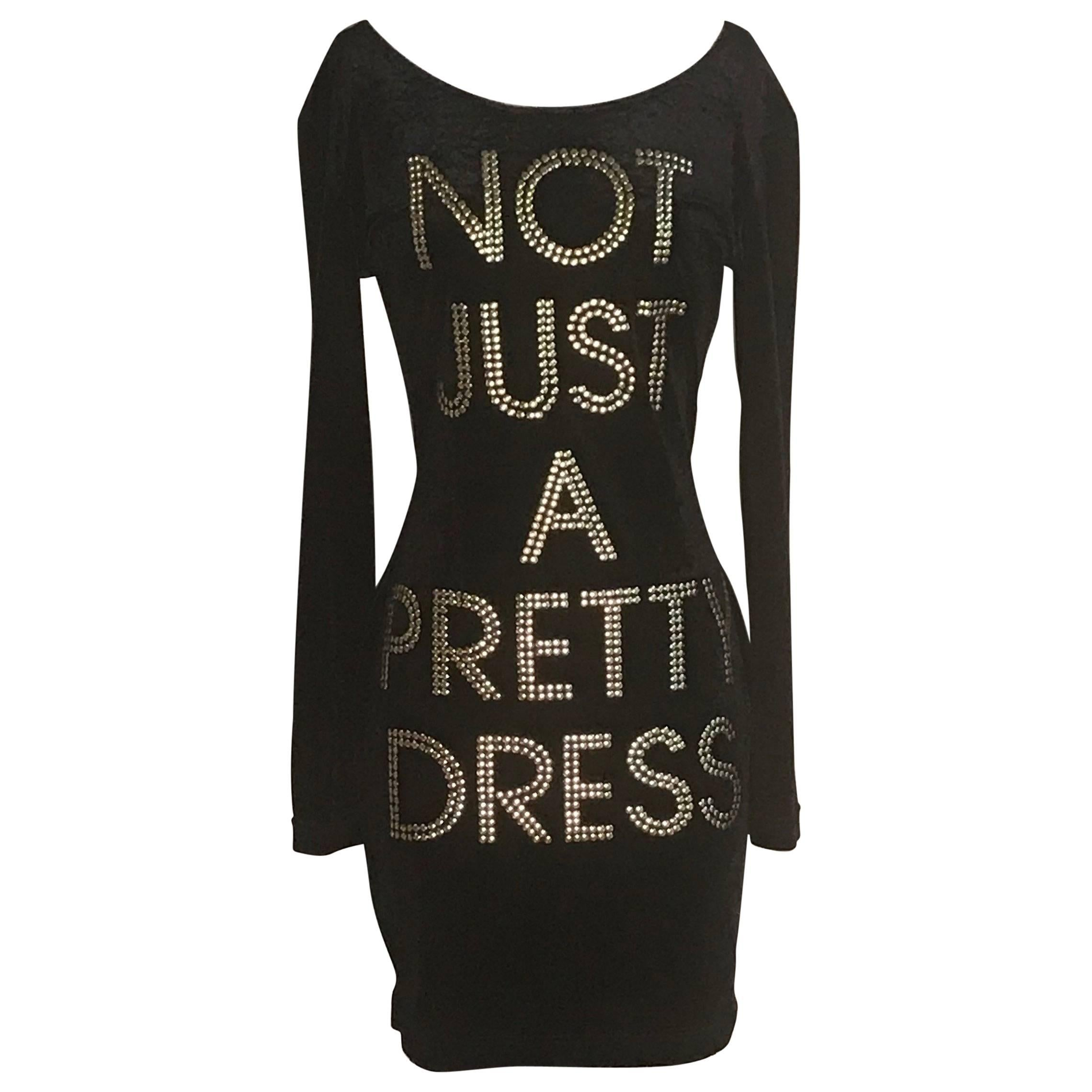 Moschino 1980s Cheap & Chic Black Velour Not Just A Pretty Dress with Gold Studs