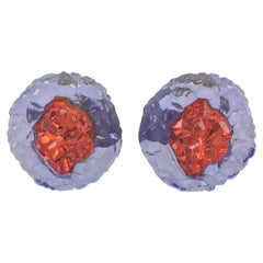 Oversized Italian Luminous Red and Purple Rock Lucite Clip on Earrings