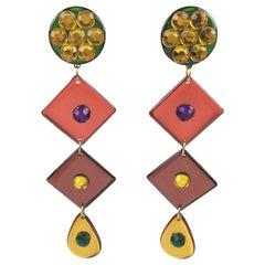 Italian Pop Art Dangling Geometric Chandelier Lucite Clip-on Earrings Multicolor