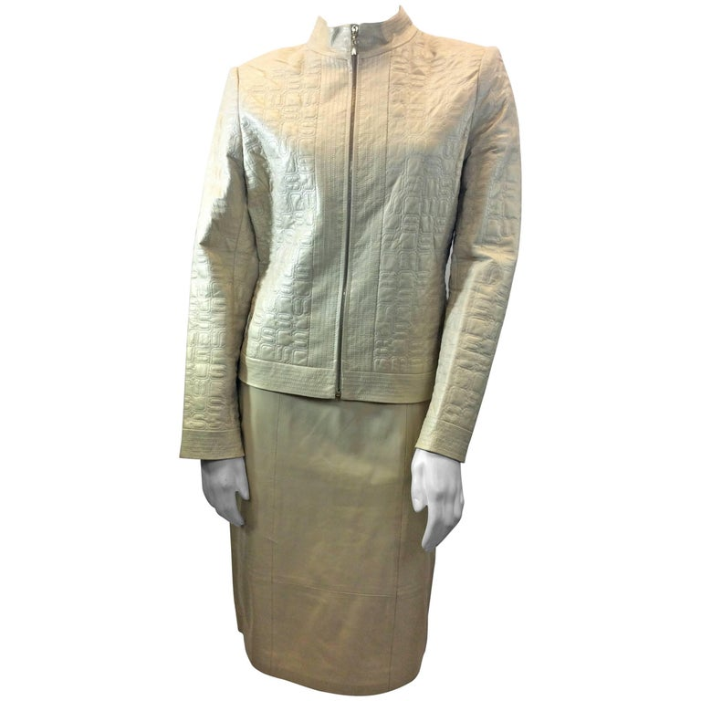 St. John Gold Leather Skirt Suit