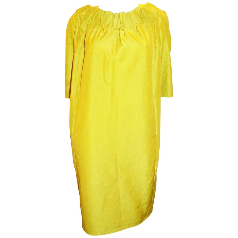 MARNI yellow/ green   shantung shift dress with pockets