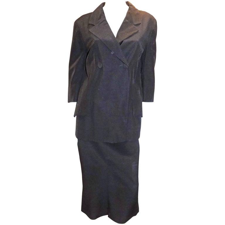 Dries van Noten vintage  Black midi skirt suit