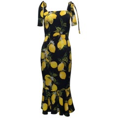 Dolce And Gabbana Lemon Print Dress Sz40 (Us 4)