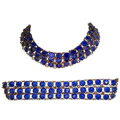 Antique Gilt Gold Sapphire Blue Faceted Glass Choker Necklace & Bracelet S/2