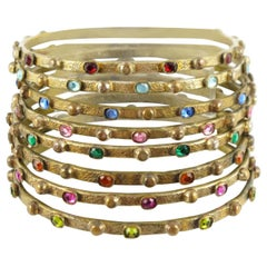 Gilt Bronze Bracelet Bangle Spacer 8 pieces with Stones by Henry Perichon