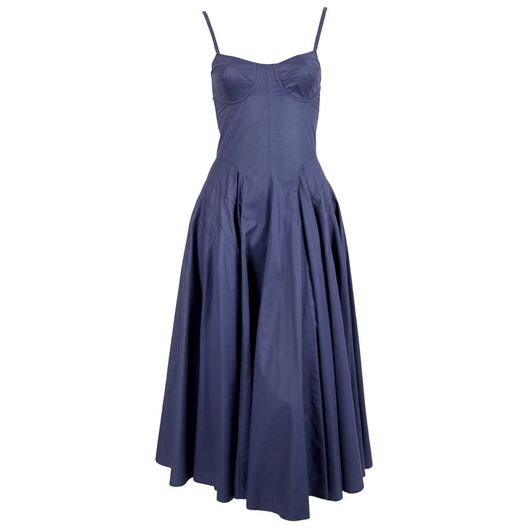 1980's AZZEDINE ALAIA blue cotton bustier dress with button back