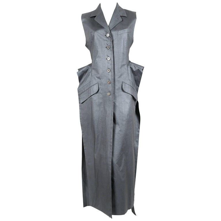 1990's ISSEY MIYAKE metallic silver blue dress with open sides