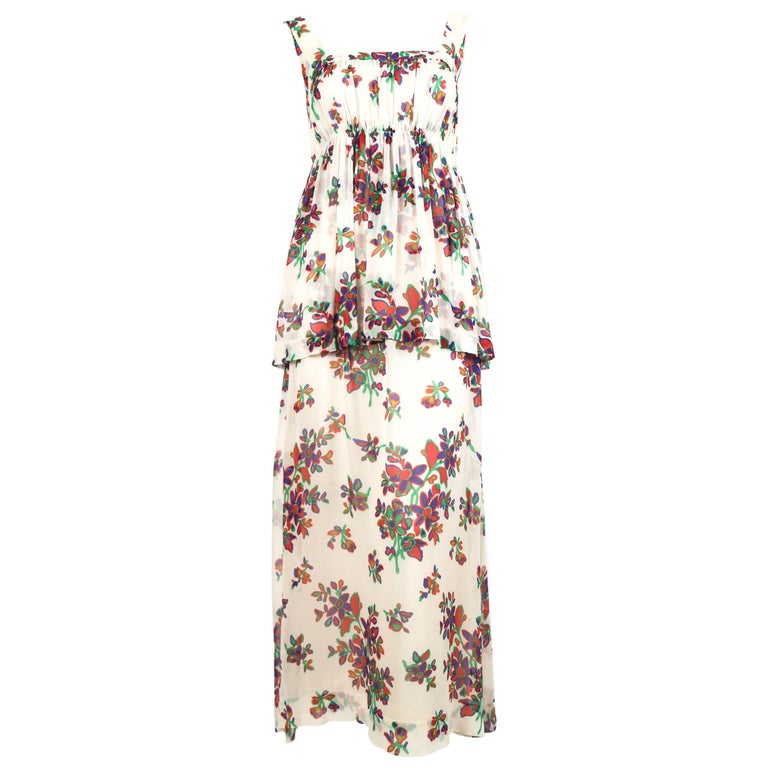 1970's YVES SAINT LAURENT floral silk chiffon long dress