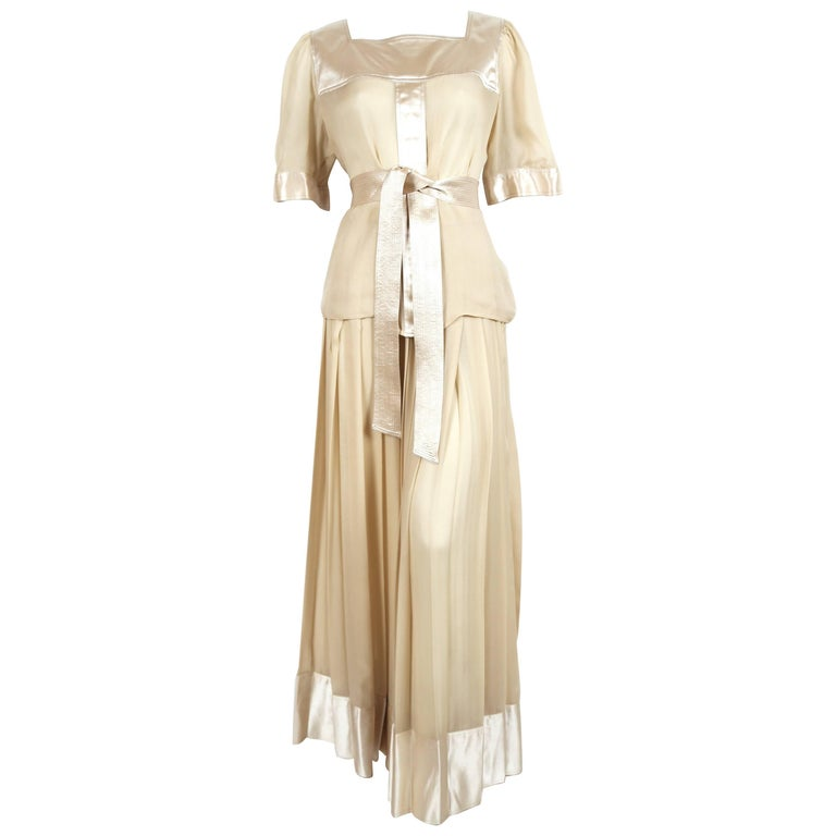 1970's GEOFFREY BEENE silk ensemble with gold thread For Sale