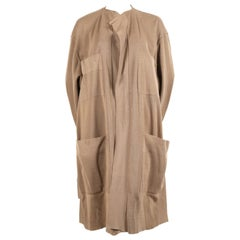 1980's AZZEDINE ALAIA oversized tan cardigan sweater jacket with pockets