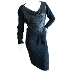Jean Paul Gaultier Angora Blend Cable Knit Dress with Draped Metal Mesh Bodice