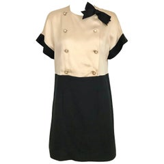 Vintage CHANEL Creme and Black Silk Charmeuse Cocktail Dress