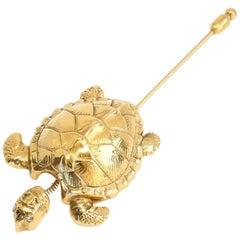 1996 CHANEL Turtle tremblant Brooch with CC logo and rhinestone eyes
