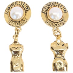 1990's MOSCHINO 'dress-form' earrings with pearls