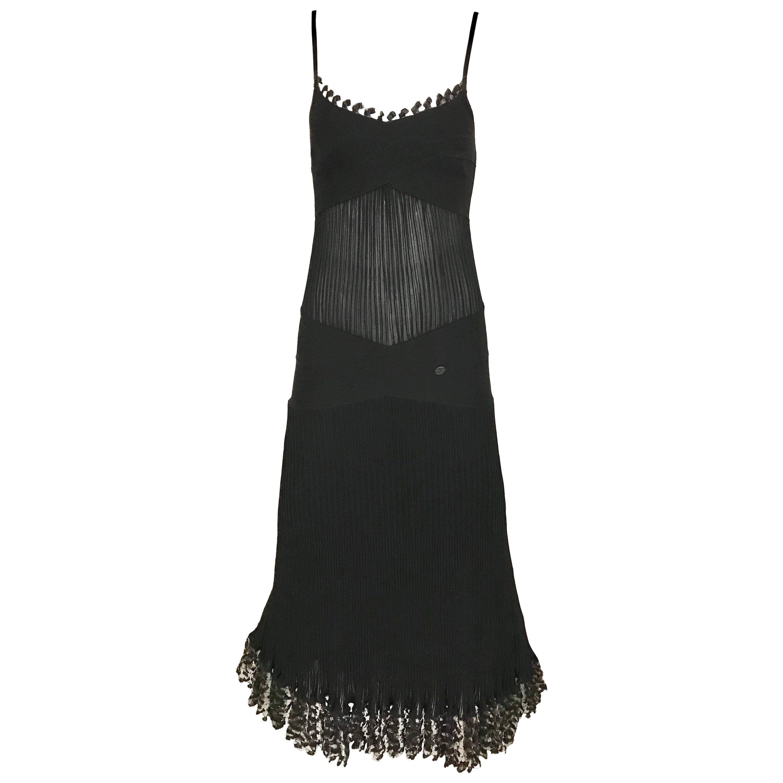 CHANEL Black Knit Spaghetti Strap Cocktail Dress