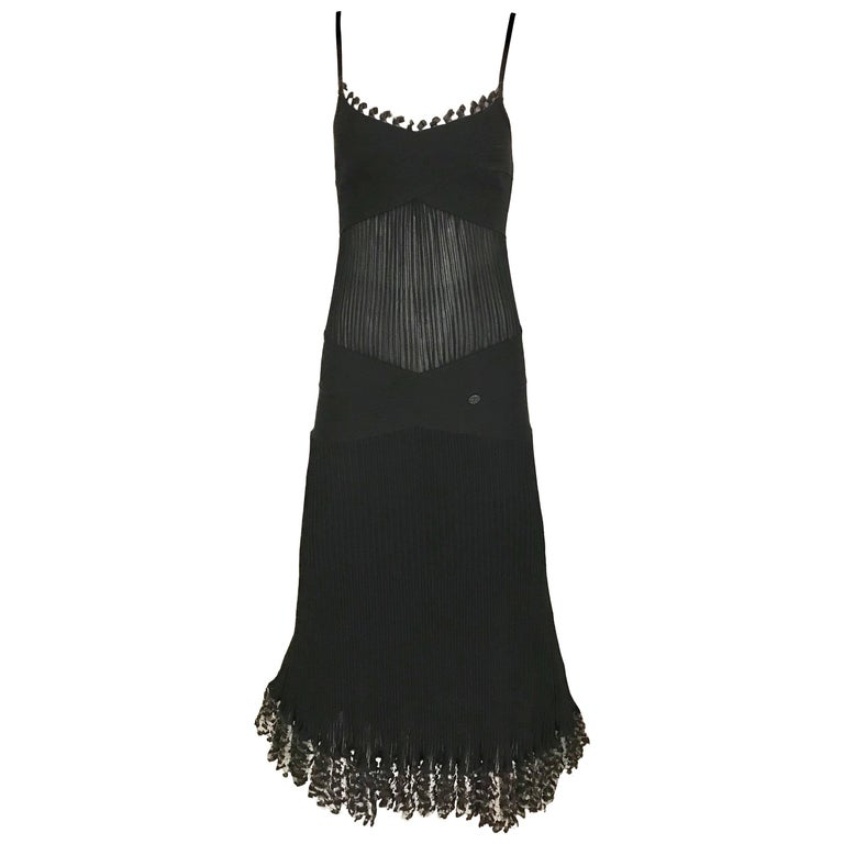 CHANEL Black Knit Spaghetti Strap Cocktail Dress For Sale