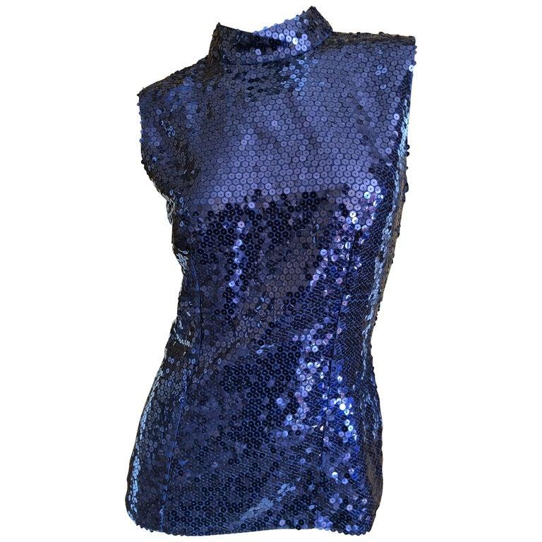 Yves Saint Laurent Rive Gauche Navy Blue Sequin Shell Top 1970s