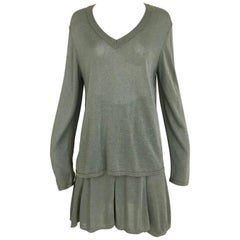 Vintage ALAIA Green Knit Top and Skirt Set