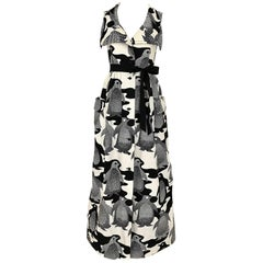 1970s Black and White Penguin Prints Cotton Maxi Dress
