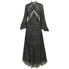1970s Black and Silver Metallic Silk Maxi Dress