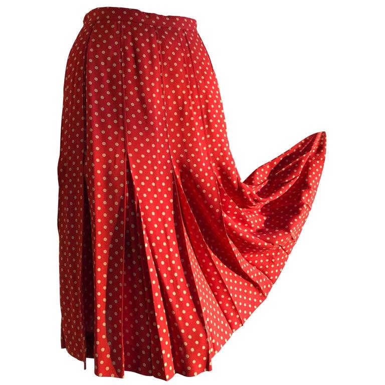 Saint Laurent 40s-Inspired Box Pleated Orange Polka Dot Crepe Skirt, 1970s