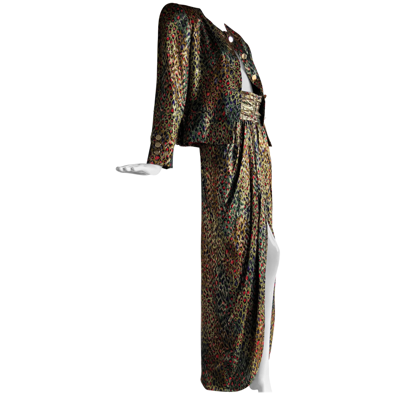 Bill Blass Silk Lame Op-Art Leopard Print Long Skirt and Suit Jacket, 1980s
