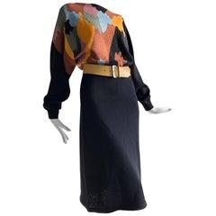 1970s Adolfo Modern Art-Inspired Mosaic Rayon Knit Dress W/ Dolman Sleeves