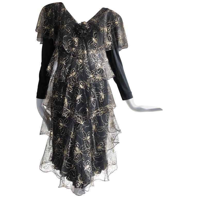 Holly Harp Matte Jersey and Gold Butterfly Embroidered Net Tiered Dress, 1970s
