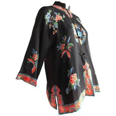 1940s Printed Silk Bed Jacket in Traditional Chinese Style