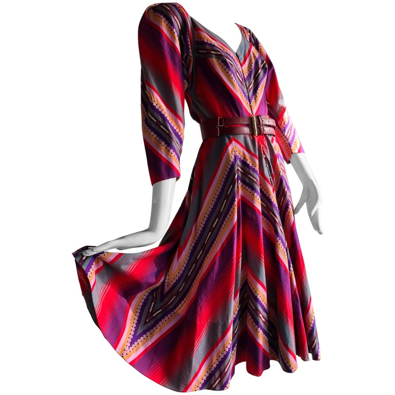 Claire McCardell Striped Cotton Summer Frock in Bold Sunset Colors, 1950s