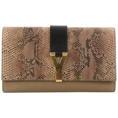 Saint Laurent Chyc Clutch Python and Leather