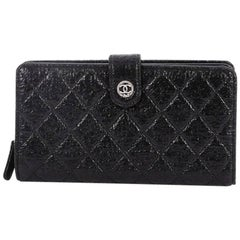 Chanel French Wallet Quilted Glazed Crackled Leather Long