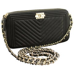 CHANEL Boy V-stitch Black Caviar Wallet On Chain WOC Shoulder Bag