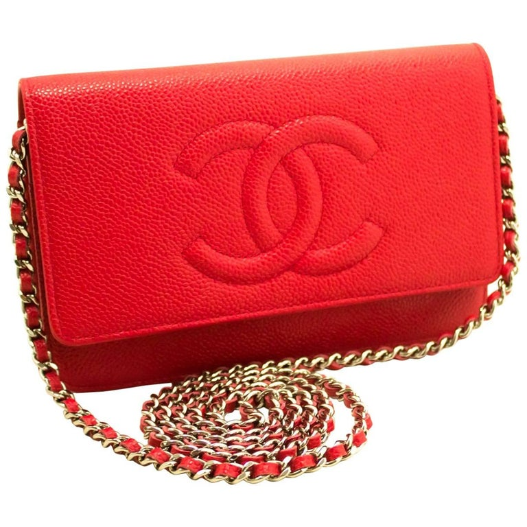 7d552a77c148 Chanel Red Caviar Wallet On Chain Crossbody Shoulder Bag, 2016 For Sale