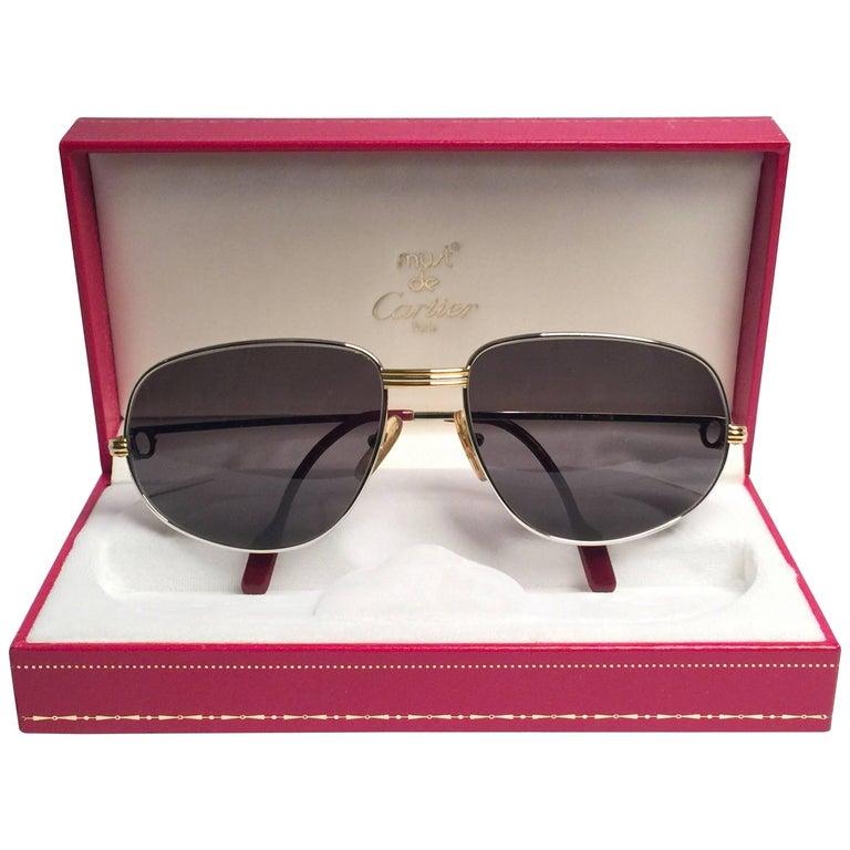 Cartier Vintage Romance Vendome 61mm Platinum France Sunglasses For Sale