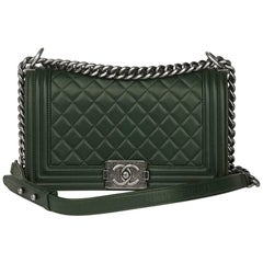 2015 Chanel Forest Green Quilted Lambskin Medium Le Boy