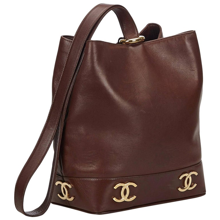 """Chanel Brown Leather Gold Toned """"CC"""" Bucket Bag For Sale"""