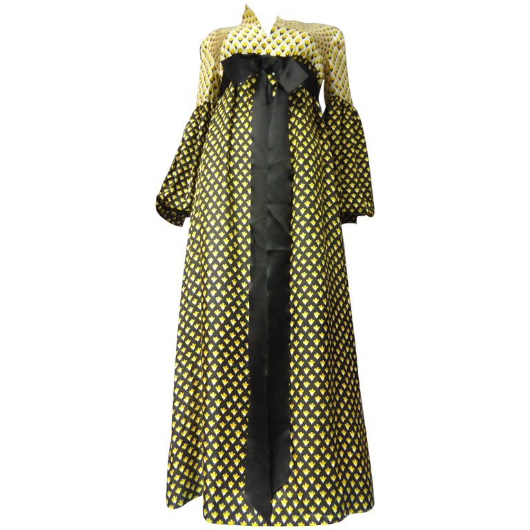 Guy Laroche Long printed silk Dress, Circa 1970