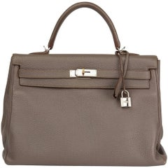 2013 Hermes Etain Togo Leather Kelly 35cm Retourne